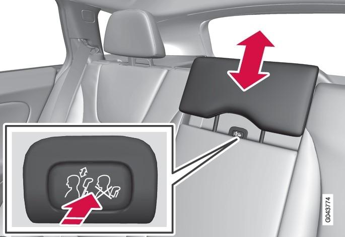 P3 V60 To adjust center head restraint in rear seat