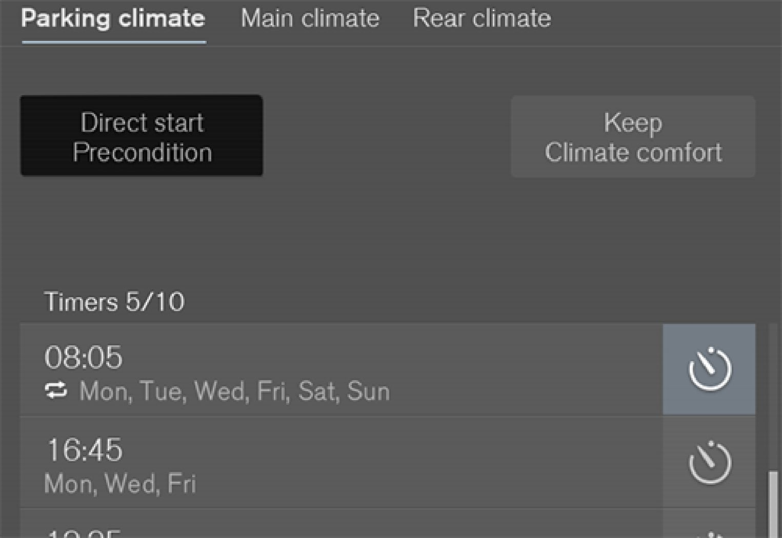 Preconditioning button in the Parking climate  tab in the climate view.