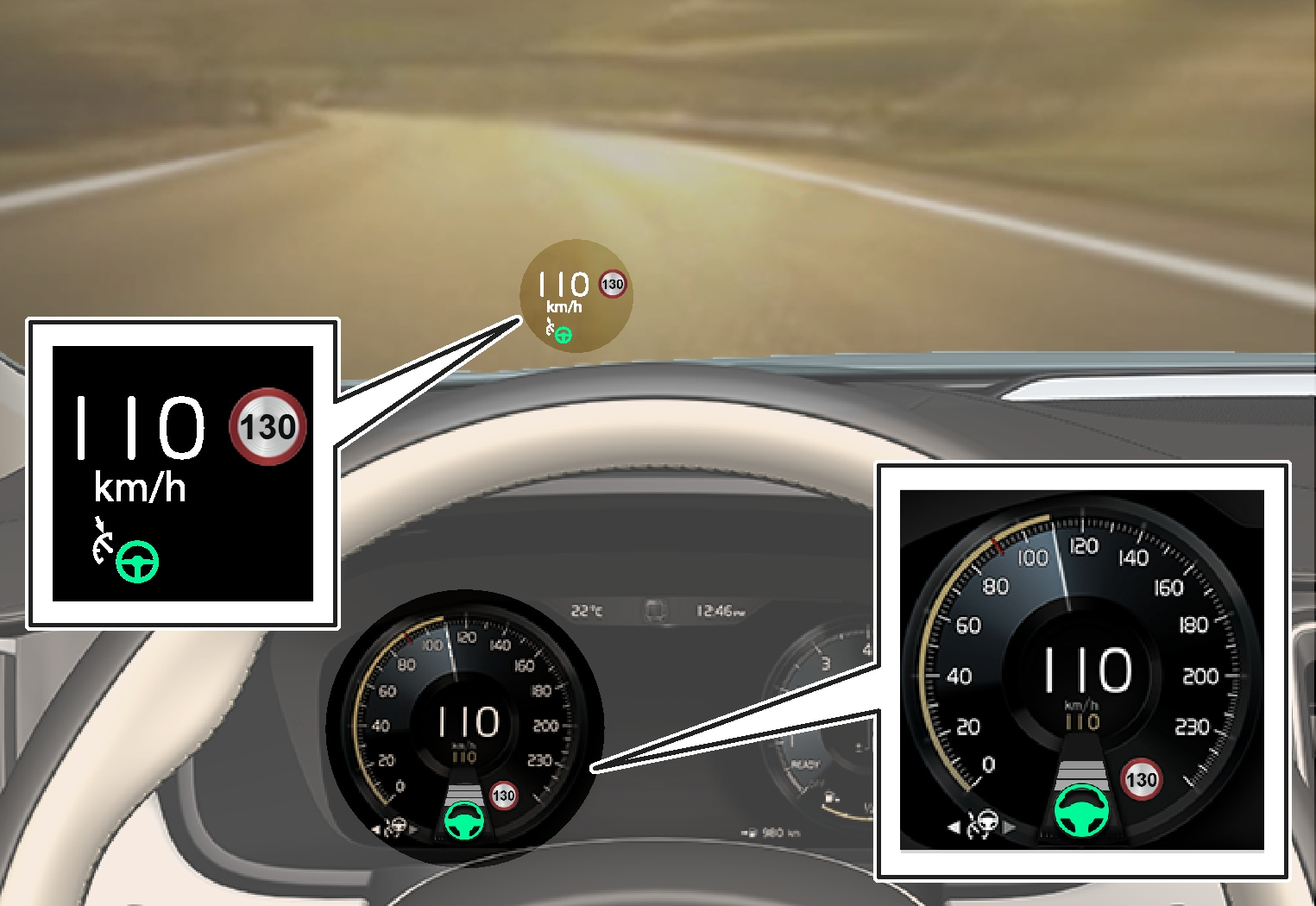 P5-V90/S90-1646-Pilot Assist, set to maintain 110 km/h,  no vehicle ahead to follow and steering assistance