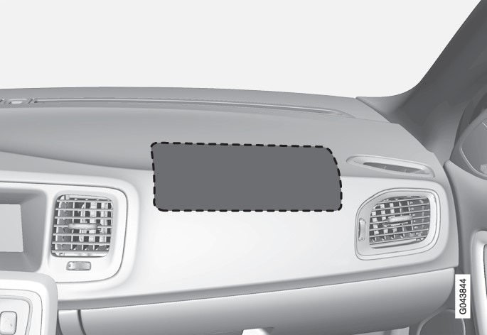 Location of the front passenger airbag in a left-hand drive car.