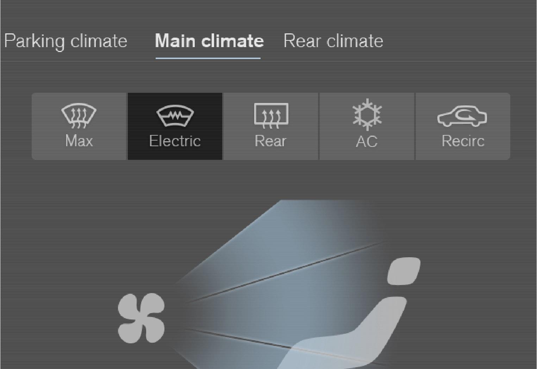 空调视图中的加热式挡风玻璃按钮。