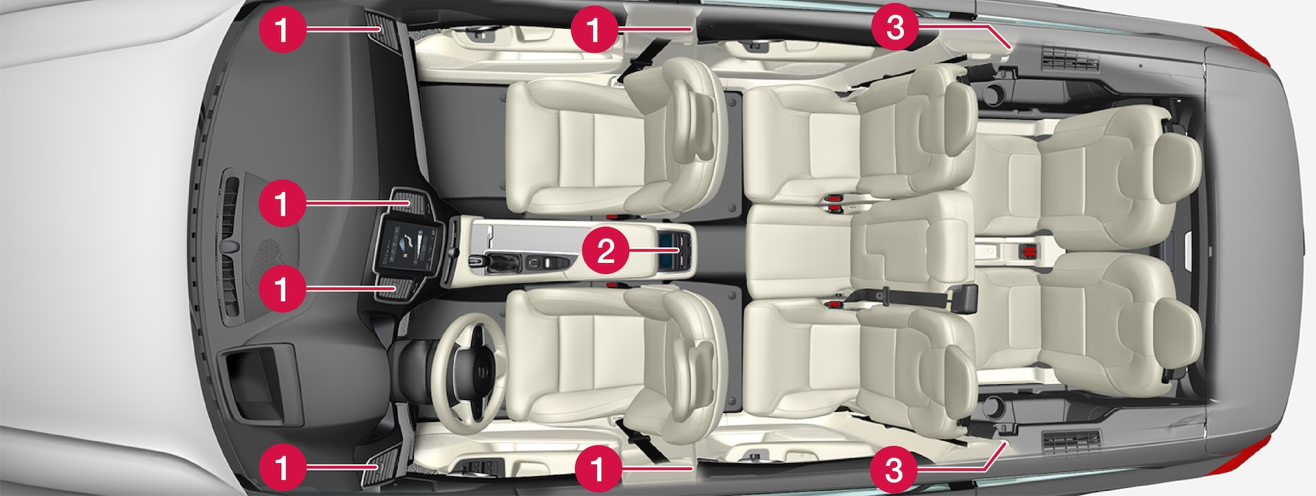 Location of adjustable air vents in the passenger compartment.