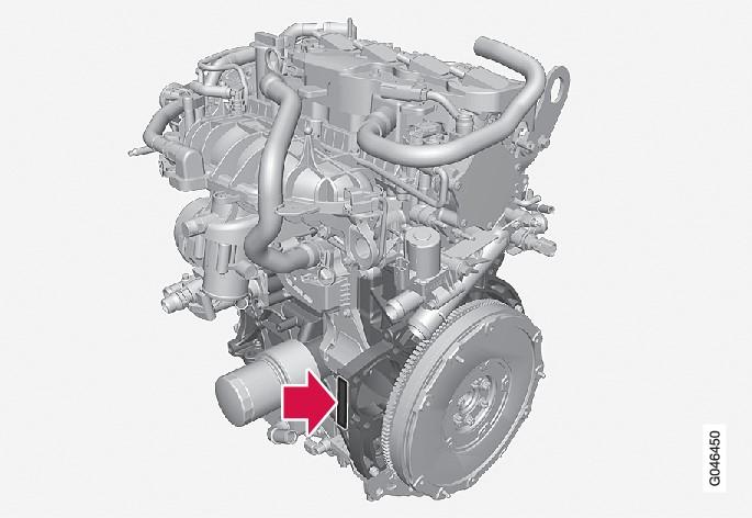 刻印的发动机号码位置,4缸发动机(1.6升)