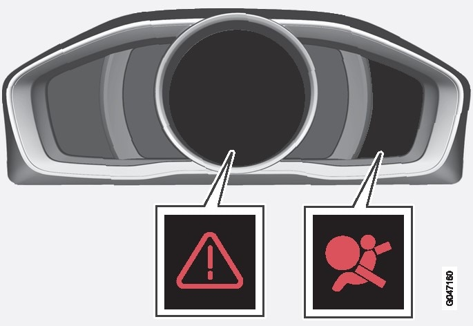 Warning triangle and warning symbol for the airbag system in the digital combined instrument panel.