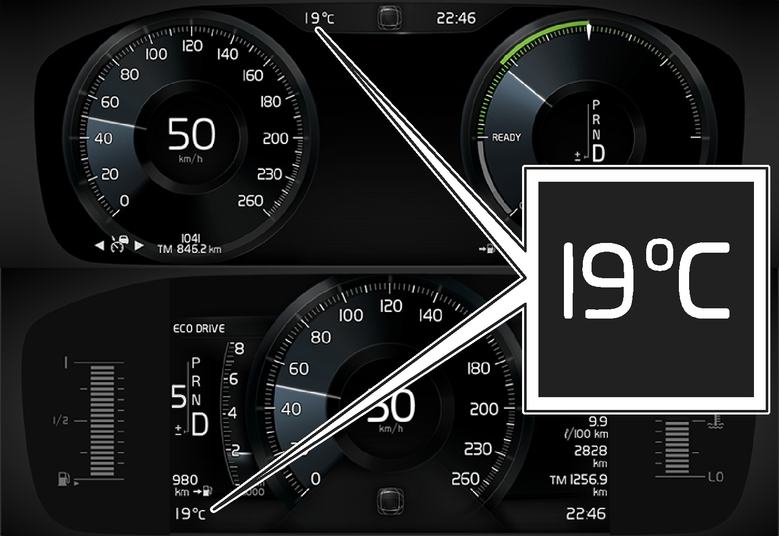 P5-Temperature gauge in driver display 8 inch and 12 inch