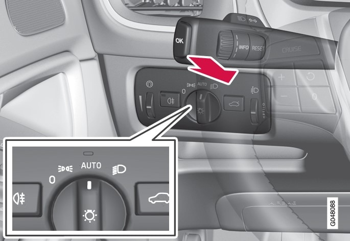 Stalk switch and knob for headlamp control in AUTO position.