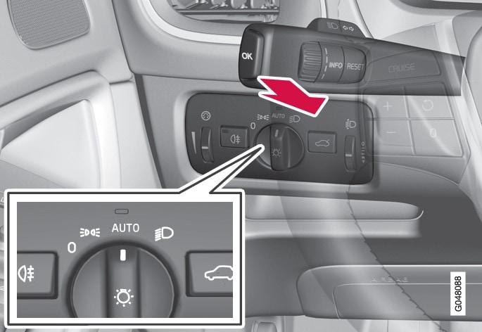 大灯控制拨杆开关和旋钮处于AUTO位置。