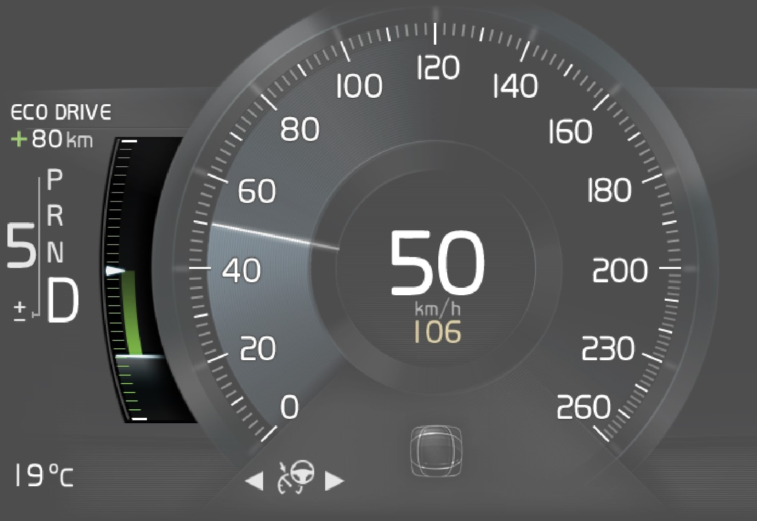 Eco gauge in the 8-inch driver display.