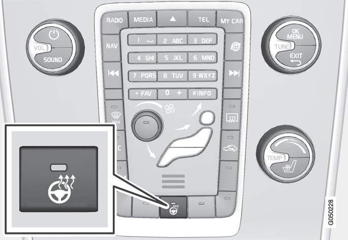 La posición del botón puede variar según la selección de equipamiento y el mercado.