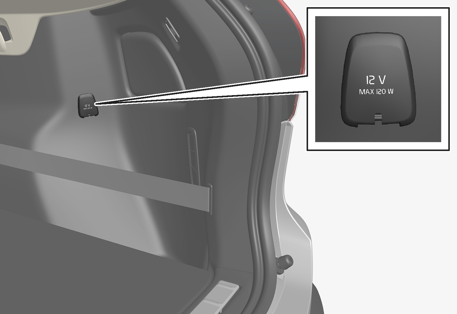 P6-1746-XC40-12 V outlet storage area
