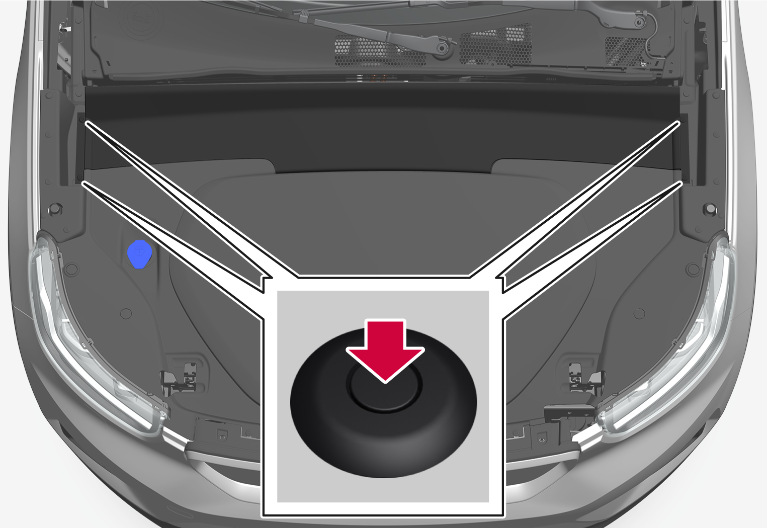 P6-2037-XC40BEV-Removal of panel under hood 1