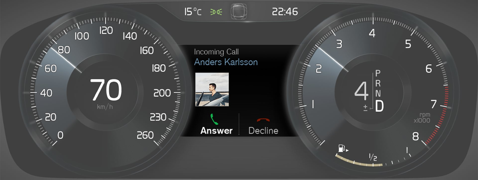 P5-1507-Incoming Call, message in driver display