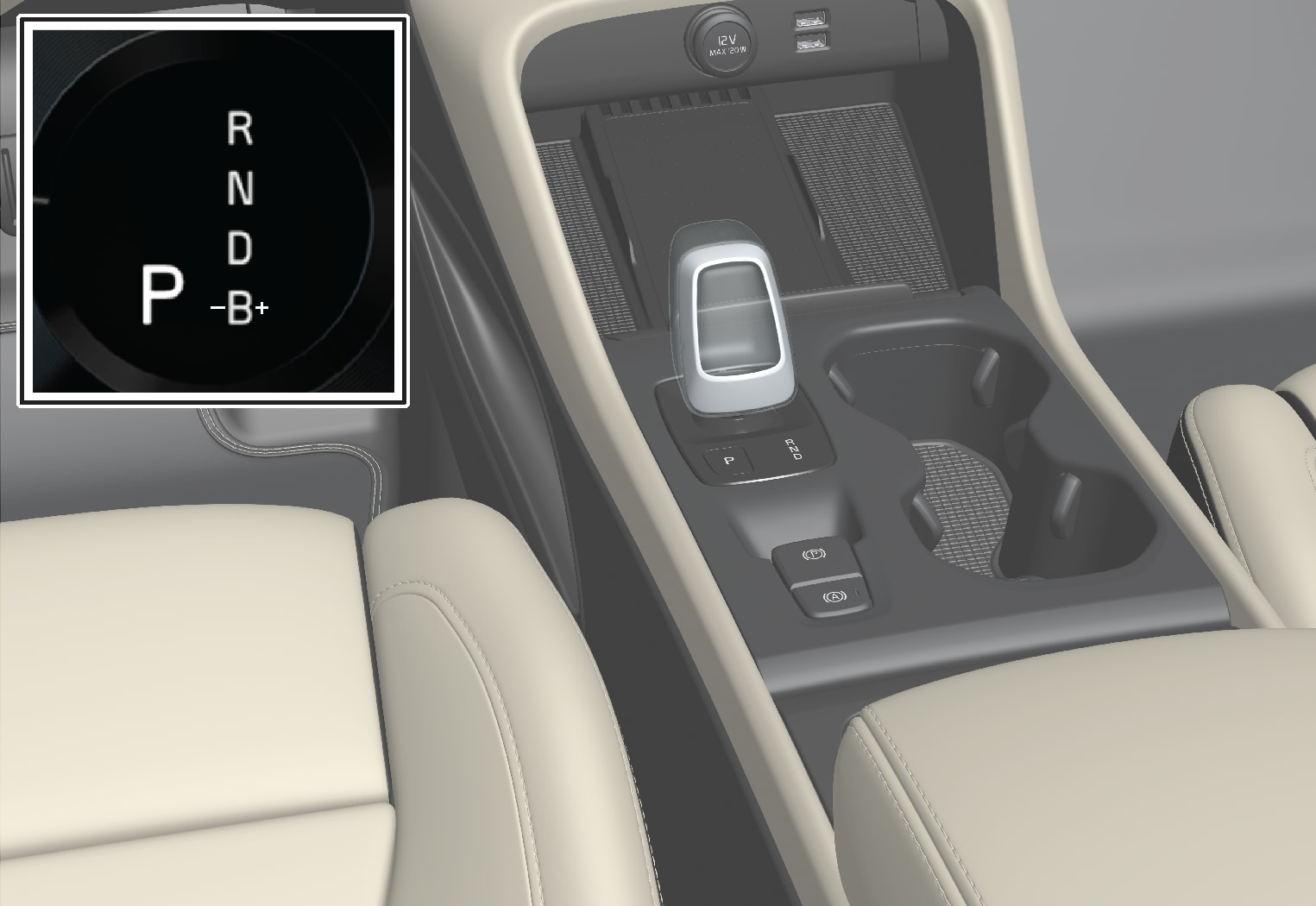 P6-1917-XC40H-Crystal gear shifter with driver display info