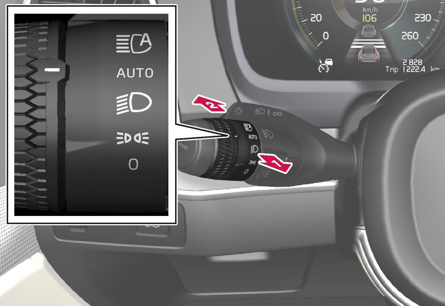 P5-1617 Stalk with turning ring, high beam toggling