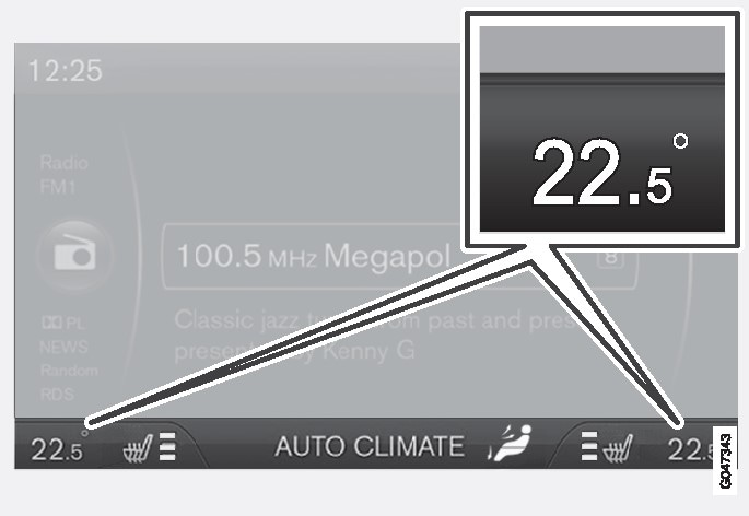 Current temperature for each side is shown in the centre console