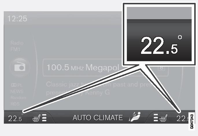 Die aktuelle Temperatur für jede Seite wird auf dem Bildschirm der Mittelkonsole angezeigt.