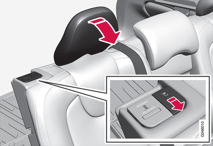 P4-1220-Y55X Manually folding the rear head restraint