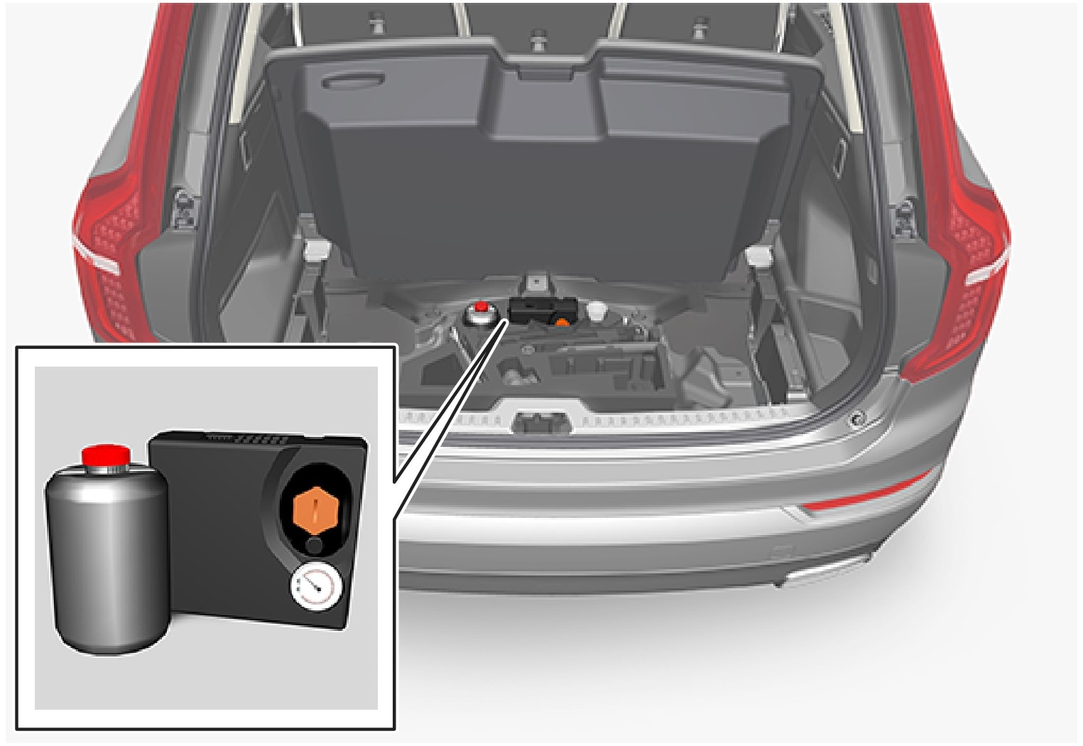 P5-1507-temporary mobility kit in luggage comp