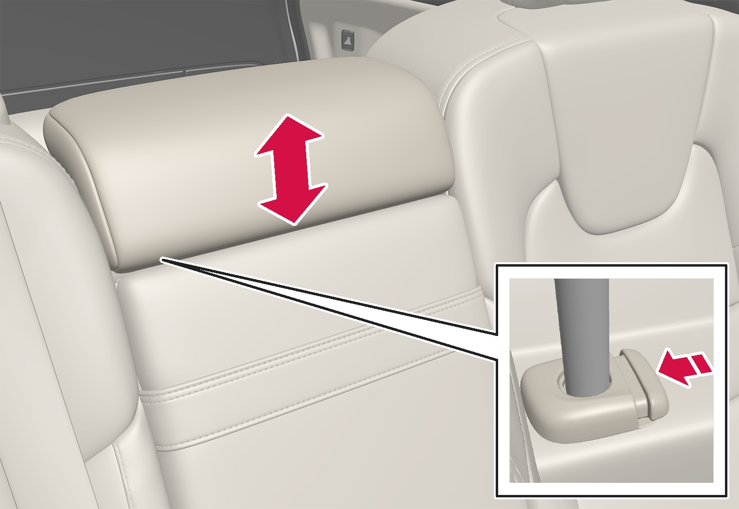 P5-1817-V60-Rear seat-Adjust headrest center