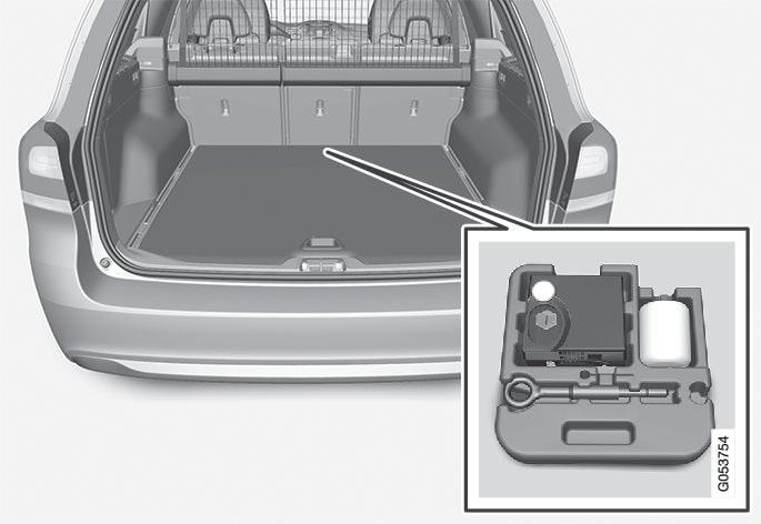 Το κιτ έκτακτης επισκευής ελαστικού βρίσκεται στον αποθηκευτικό χώρο στο μπροστινό τμήμα του χώρου αποσκευών.