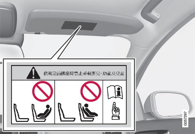貼紙位於乘客座遮陽板上。