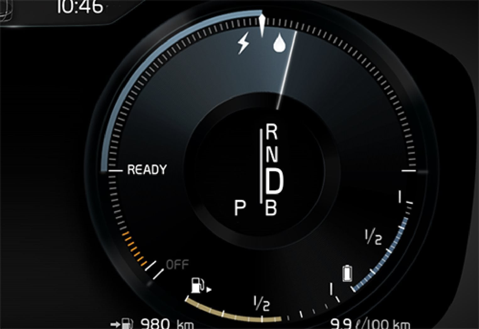 The driver display for propulsion with both the electric motor and internal combustion engine.