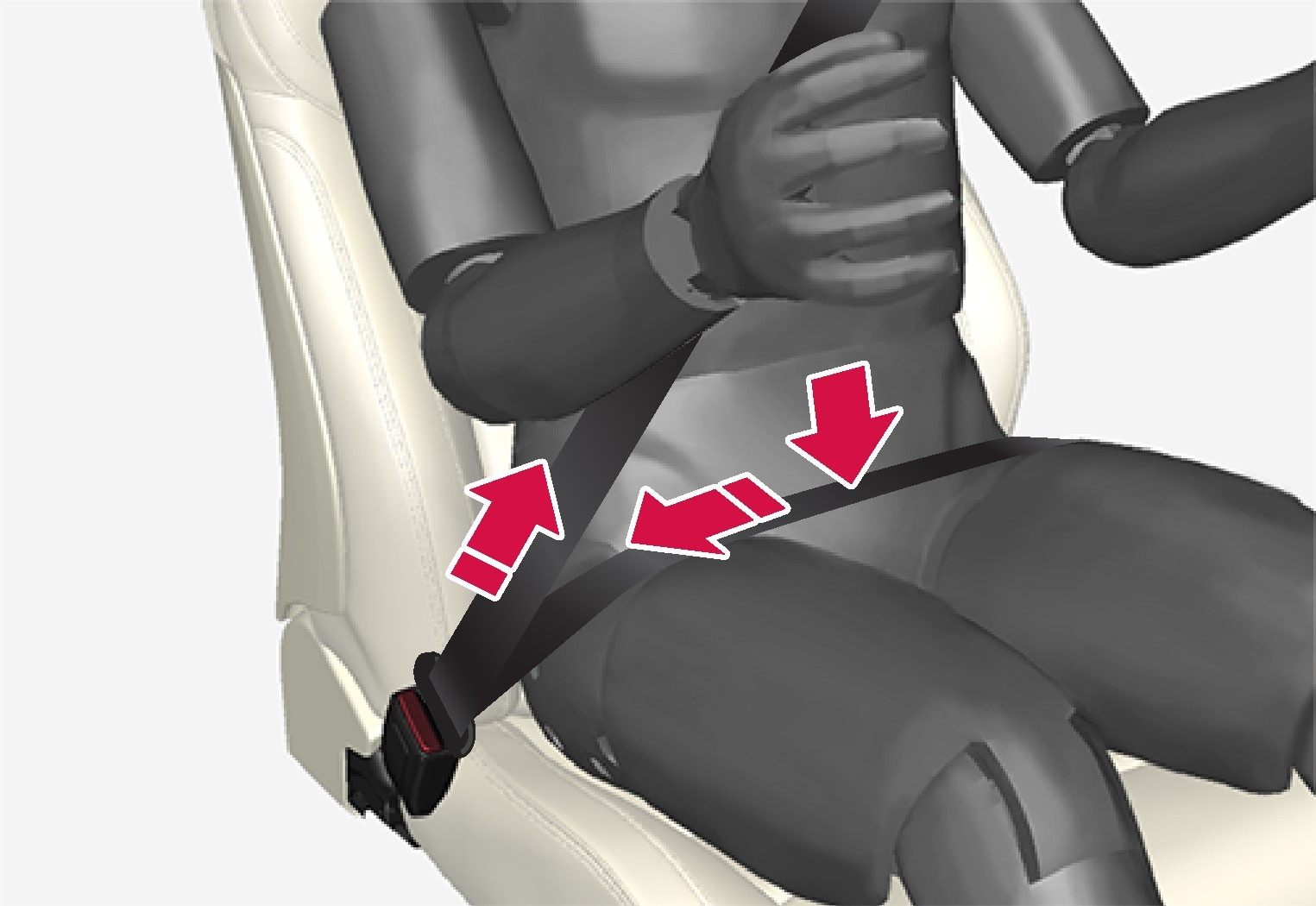 The hip strap must be positioned low down (not over the abdomen).