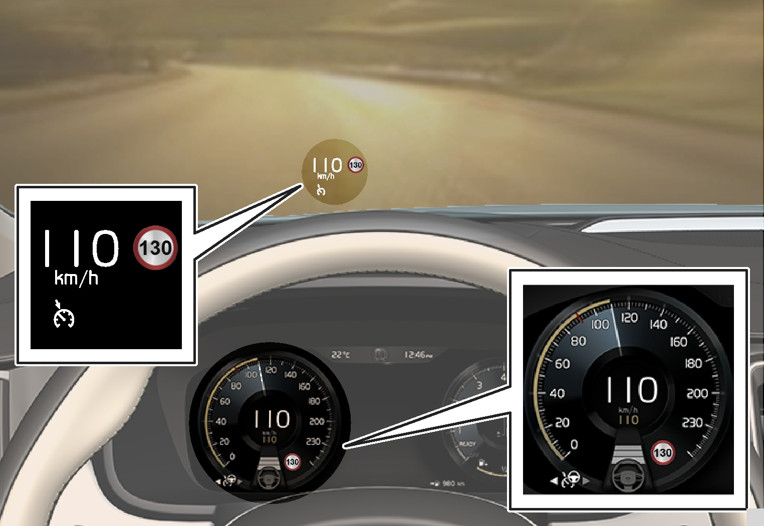 P5-S90/V90-1617-Pilot Assist, Follows, set to maintain 110 km/h and to follow a vehicle ahead