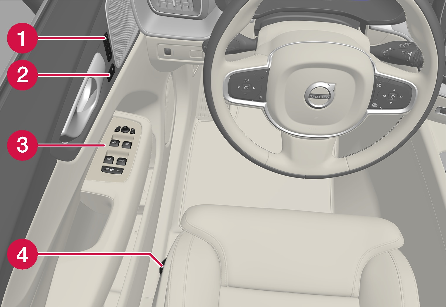 P5-1717-XC60-Controls inside left door and seat overview LHD