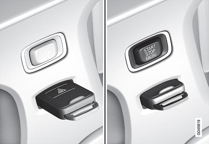 Cerradura de contacto con llave extraída o apretada y botón START/STOP ENGINE.