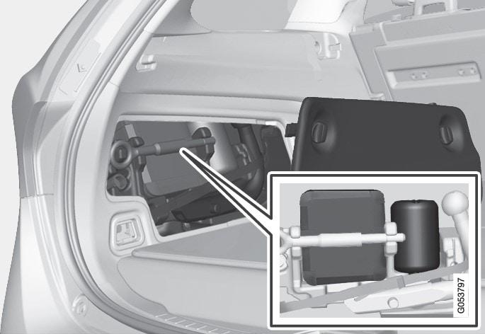 Комплект для екстреного ремонту шин зберігається за боковим люком в багажнику.