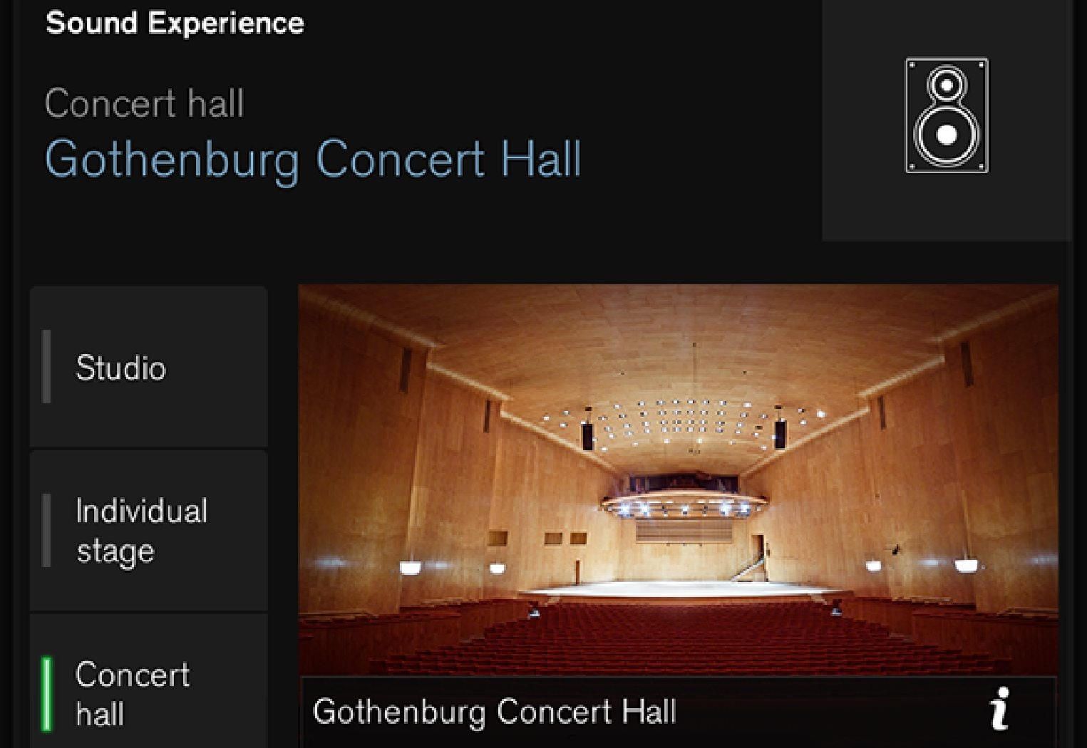 Audio mode that recreates the acoustics from Gothenburg Concert Hall.