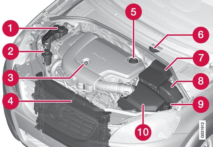 O aspecto do compartimento do motor pode variar consoante a variante de motor.