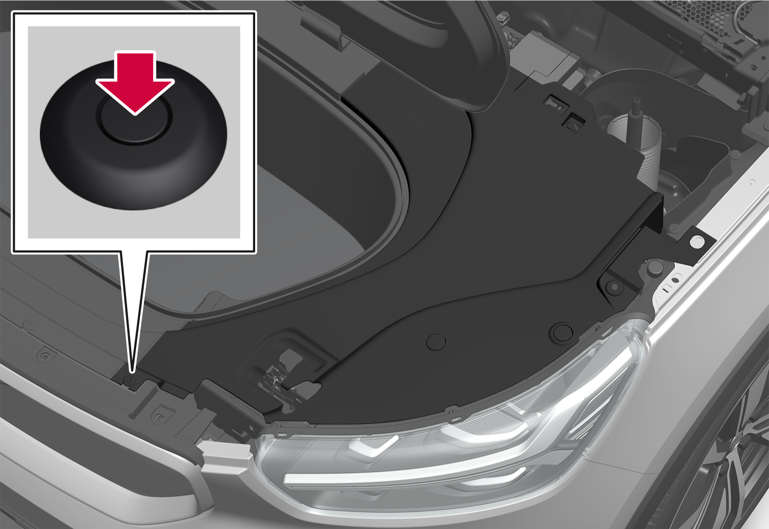 P6-2037-XC40BEV-Removal of panel under hood 3