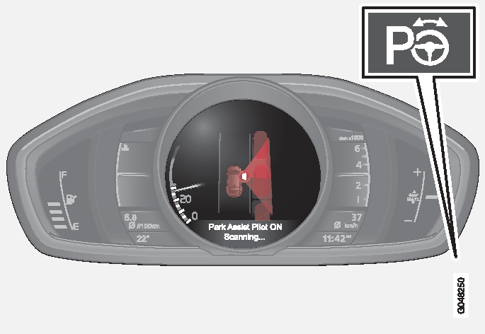 P4-1220-Fickparkeringshjälp Vy med På-/Av-knapp