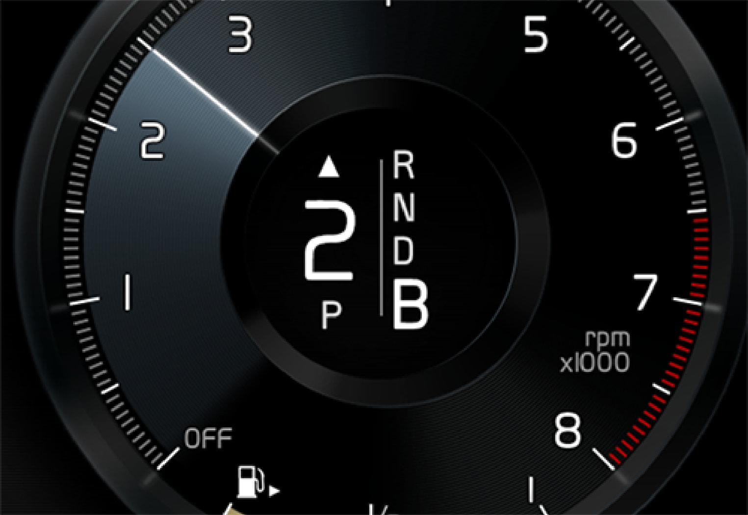 P5-1519-XC90 Hybrid gear shift indicator in DIM