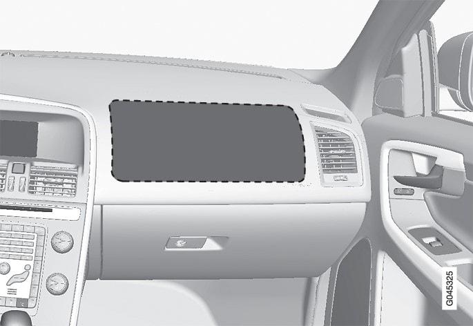 左驾驶车型上前排乘客安全气囊的位置。