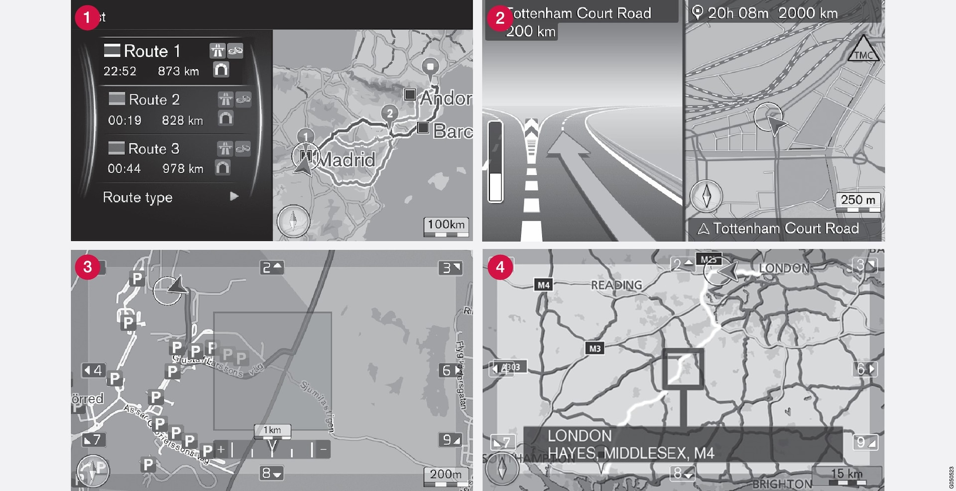 Examples of map images for the current position. Itinerary, junction map and scroll mode are some of the views the screen can show. NOTE: the illustrations are schematic - details may vary depending on software version and market.