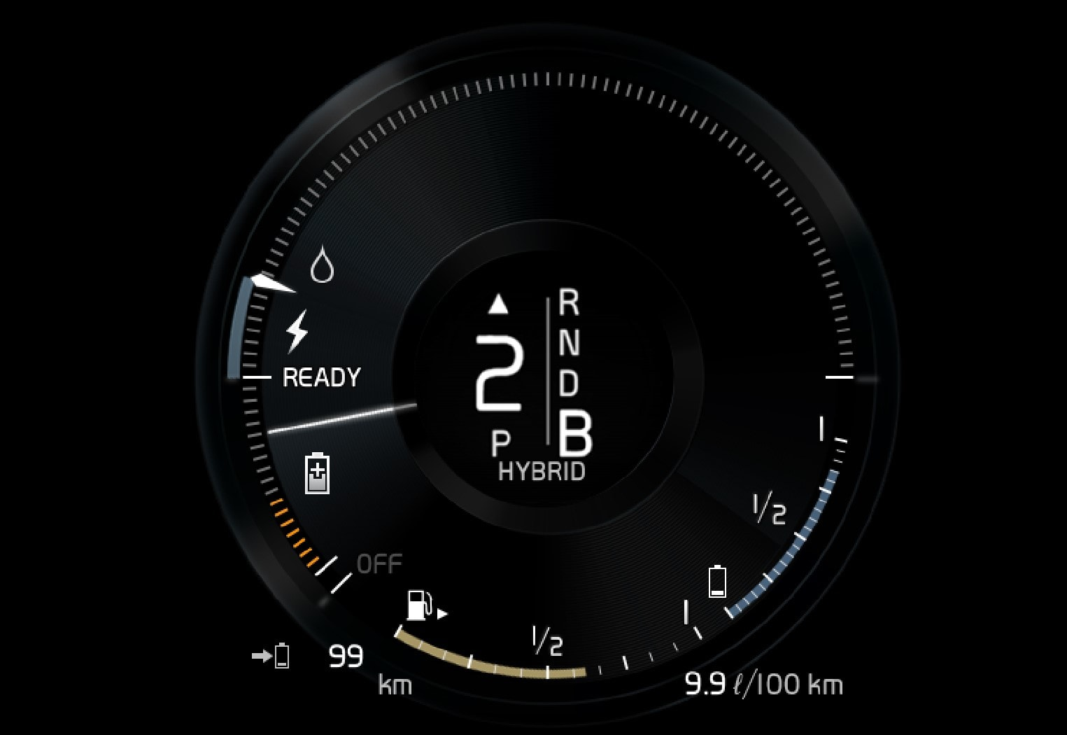The driver display indicates charging during engine braking.