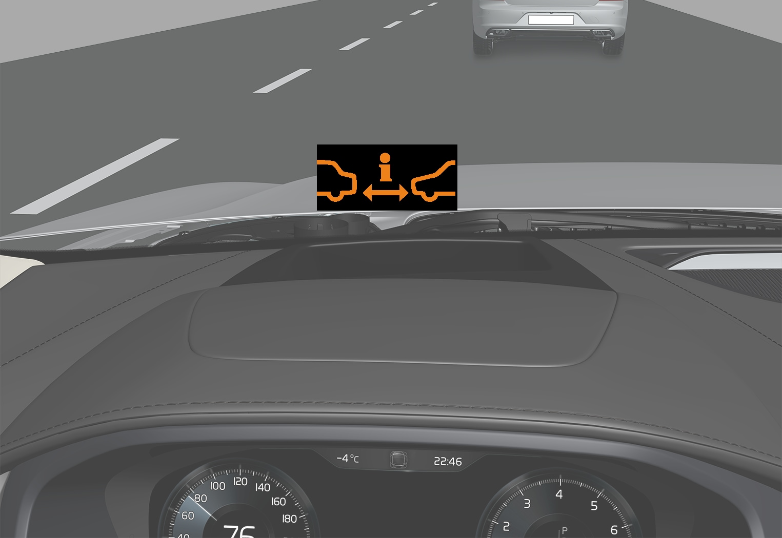 P5-V90/S90-1646-Head up display, Distance Warning