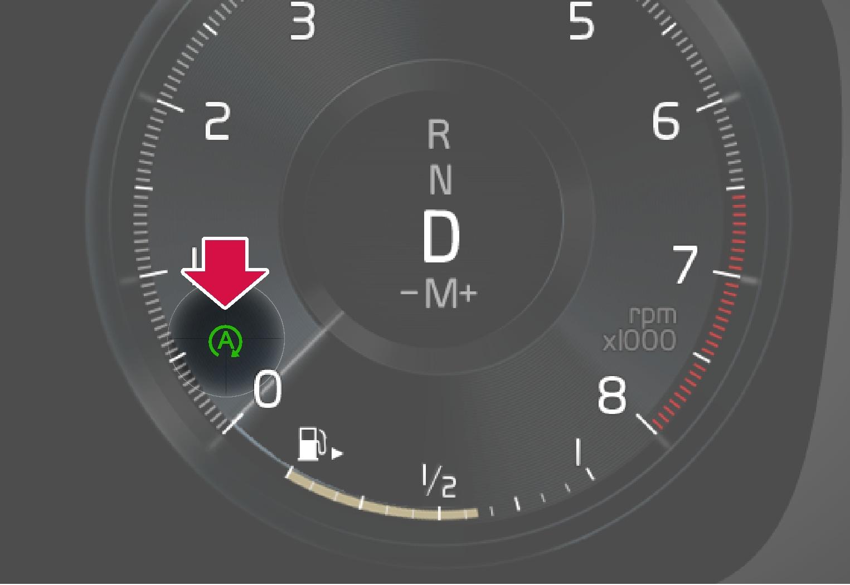 P5P6-1924-Start Stop A in circle symbol in gauge