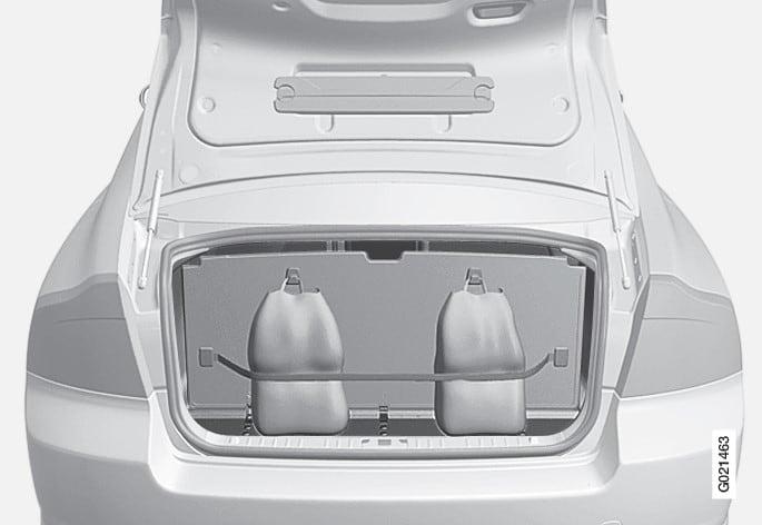 地板內摺疊艙蓋下的雜物袋固定器。
