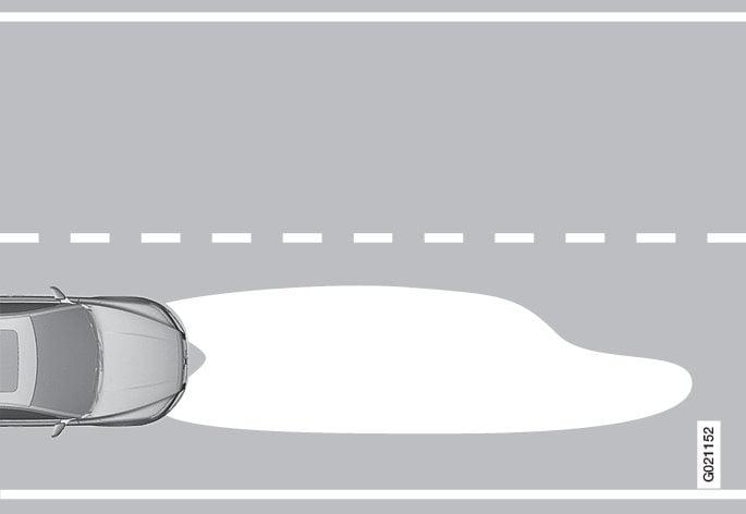 Fascio di luce per il traffico con guida a destra.