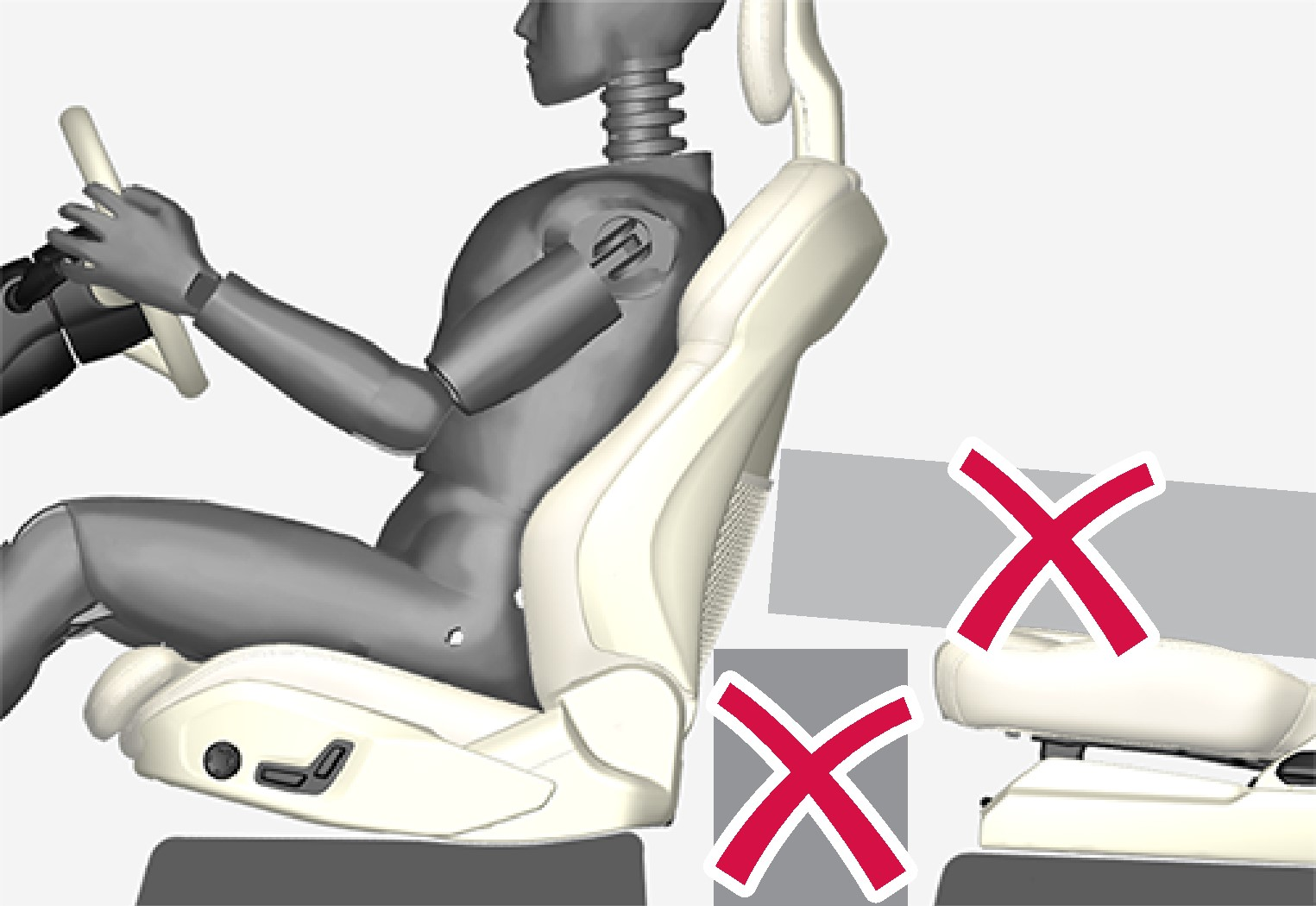 Do not leave any objects on the floor behind or under the front seats or in the seat row behind the driver
