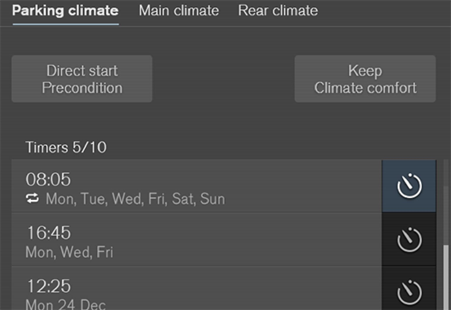 The timer buttons in the Parking climate  tab in the climate view.