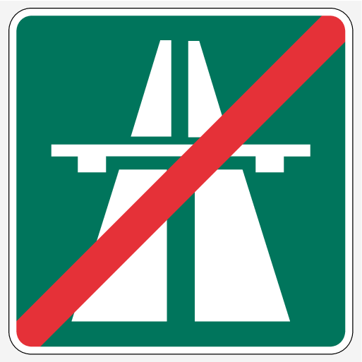 P5-1507-Road Sign Information, end of motorway