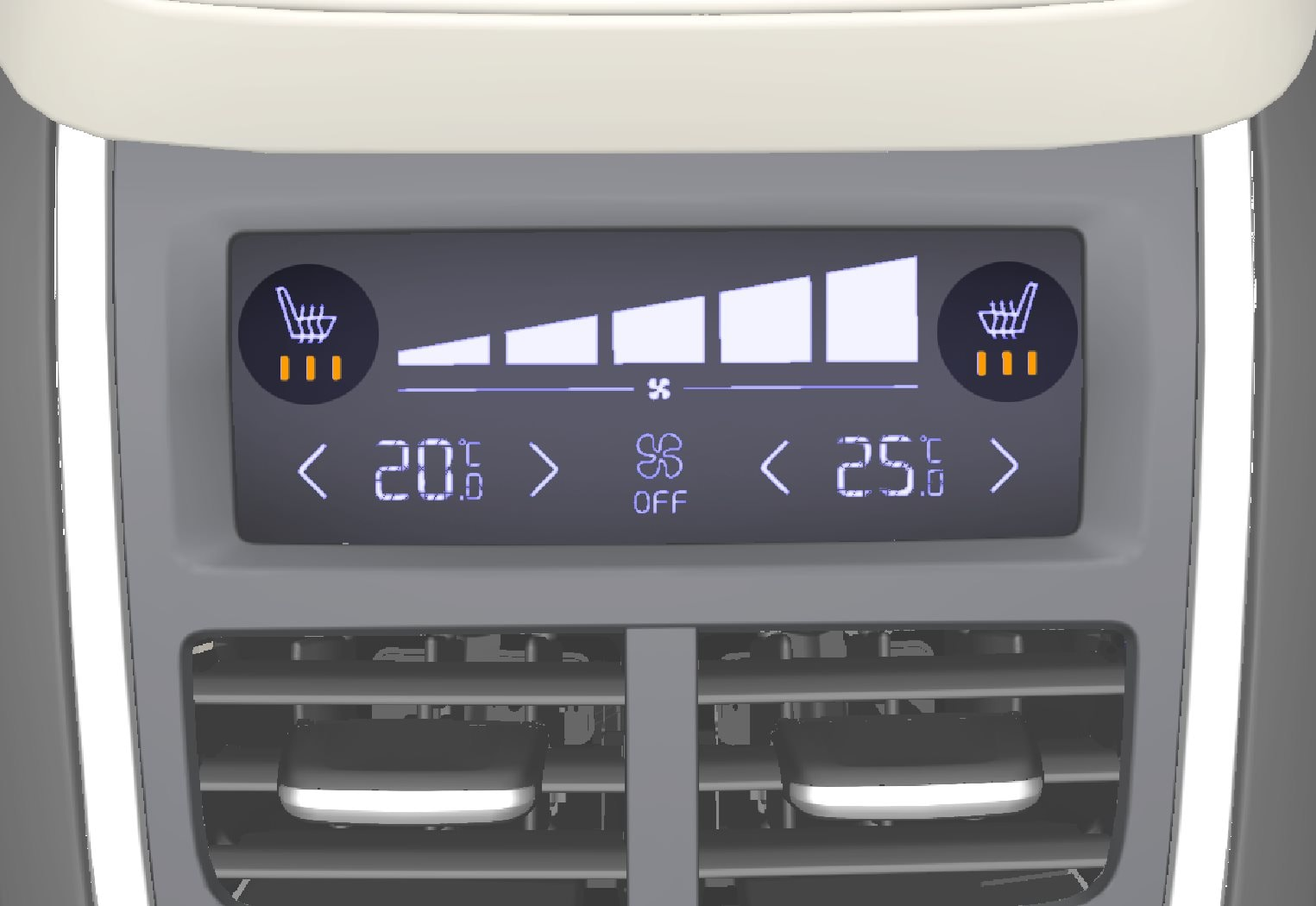 Seat heating indication and controls on the climate panel at the rear of the tunnel console.
