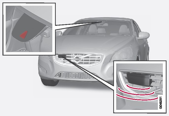 Camera and radar sensorNOTE: The illustration is schematic - details may vary depending on car model..