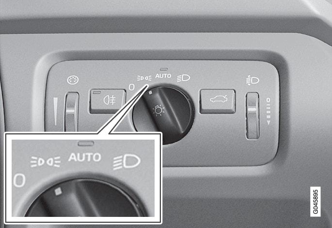 大灯控制旋钮处于位置灯/驻车灯位置。