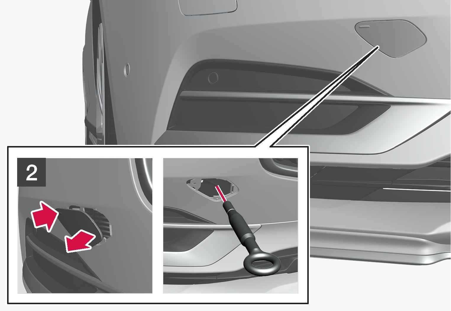 P5-1617-S90-V90-towing eye fitting at front step 2
